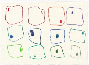 Tagebucheintrag 15.11.2020, Zoom, 20 x 15 cm, Buntstift auf Silberburg Büttenpapier, Zeichnung von Susanne Haun (c) VG Bild-Kunst, Bonn 2020