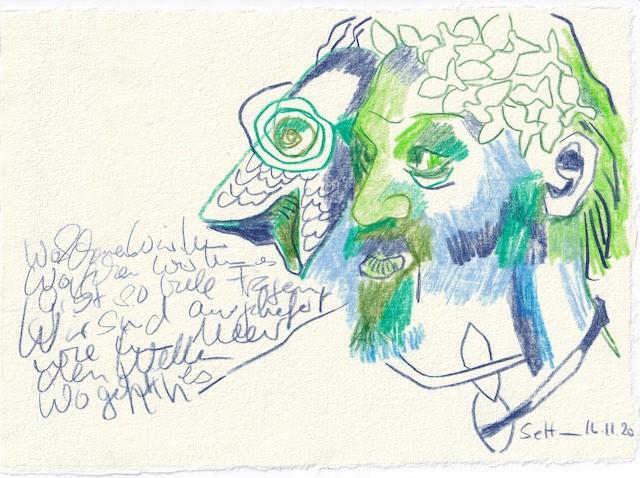 Tagebucheintrag 16.11.2020, Wo suchen wir, 20 x 15 cm, Buntstift auf Silberburg Büttenpapier, Zeichnung von Susanne Haun (c) VG Bild-Kunst, Bonn 2020