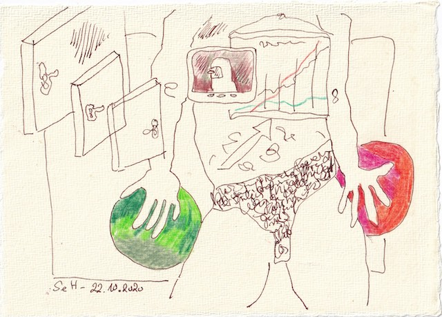 Tagebucheintrag 22.10.2020, Nachrichten im Zeitalter der Pandemie, 20 x 15 cm, Tinte und Buntstift auf Silberburg Büttenpapier, Zeichnung von Susanne Haun (c) VG Bild-Kunst, Bonn 2020