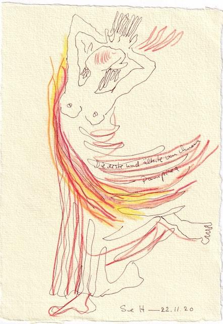 Tagebucheintrag 22.11.2020, Die älteste und erste war Pampenia, 20 x 15 cm, Tinte und Aquarell auf Silberburg Büttenpapier, Zeichnung von Susanne Haun (c) VG Bild-Kunst, Bonn 2020