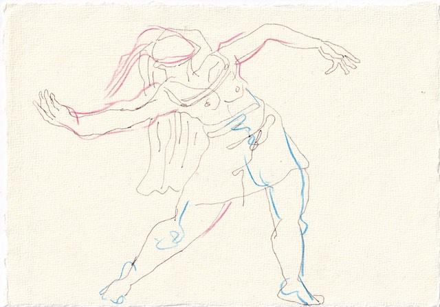 Tagebucheintrag 23.11.2020, Die zweite Fiammetta, 20 x 15 cm, Tinte und Aquarell auf Silberburg Büttenpapier, Zeichnung von Susanne Haun (c) VG Bild-Kunst, Bonn 2020