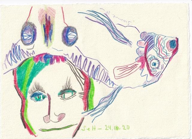 Tagebucheintrag 24.10.2020, Dreh und Wende dich, Version 2, 20 x 15 cm, Buntstift auf Silberburg Büttenpapier, Zeichnung von Susanne Haun (c) VG Bild-Kunst, Bonn 2020