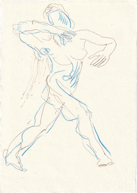 Tagebucheintrag 24.11.2020, sodann nennen wir die fünfte Lauretta, 20 x 15 cm, Tinte und Aquarell auf Silberburg Büttenpapier, Zeichnung von Susanne Haun (c) VG Bild-Kunst, Bonn 2020