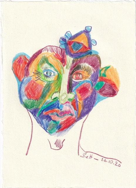Tagebucheintrag 26.10.2020, Der traurige Clown, 20 x 15 cm, Buntstift auf Silberburg Büttenpapier, Zeichnung von Susanne Haun (c) VG Bild-Kunst, Bonn 2020