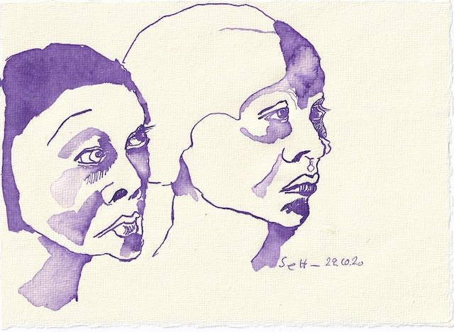 Tagebucheintrag 29.10.2020, Traurig schauen wir westwärts, 20 x 15 cm, Tinte auf Silberburg Büttenpapier, Zeichnung von Susanne Haun (c) VG Bild-Kunst, Bonn 2020
