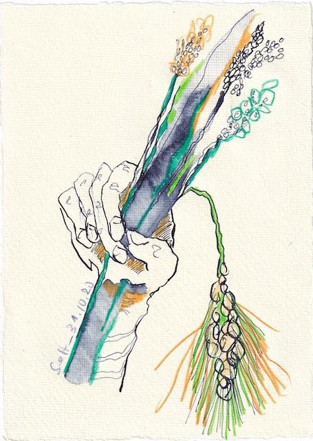 Tagebucheintrag 31.10.2020, Die Ernte wird eingeholt, 20 x 15 cm, Tinte und Buntstift auf Silberburg Büttenpapier, Zeichnung von Susanne Haun (c) VG Bild-Kunst, Bonn 2020