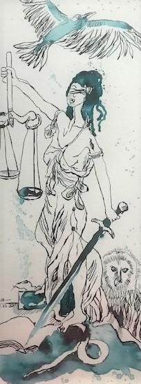 Justita Version 1, 50 x 20 cm, Tusche auf Aquarellkarton, Zeichnung von Susanne Haun (c) VG Bild-Kunst, Bonn 2020