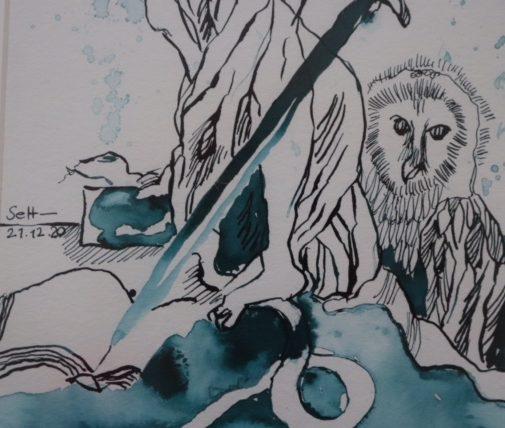 Ausschnitt, Justita Version 1, 50 x 20 cm, Tusche auf Aquarellkarton, Zeichnung von Susanne Haun (c) VG Bild-Kunst, Bonn 2020