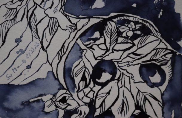 Ausschnitt, Justita Version 2, 50 x 20 cm, Tusche auf Aquarellkarton, Zeichnung von Susanne Haun (c) VG Bild-Kunst, Bonn 2020
