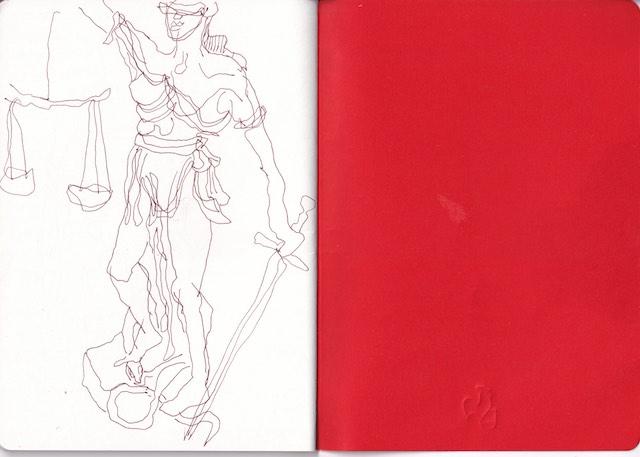 Justizia, aus dem Skizzenbuch von Susanne Haun (c) VG Bild-Kunst, Bonn 2020