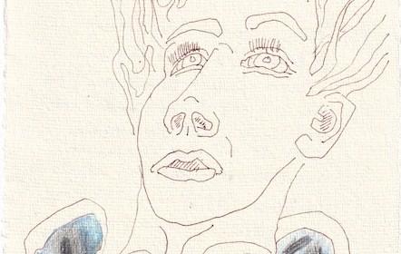 Tagebucheintrag 01.12..2020, Dekameron, Dann packt mich das Grauen, 20 x 15 cm, Tinte und Buntstift auf Silberburg Büttenpapier, Zeichnung von Susanne Haun (c) VG Bild-Kunst, Bonn 2020