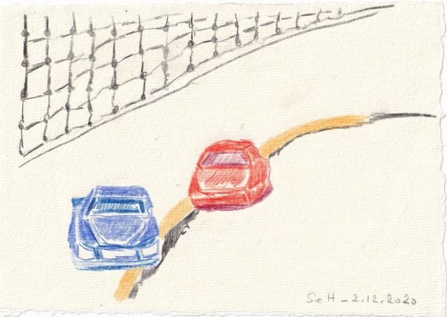 Tagebucheintrag 02.12.2020, Susanne malt ein Auto, 20 x 15 cm, Tinte und Aquarell auf Silberburg Büttenpapier, Zeichnung von Susanne Haun (c) VG Bild-Kunst, Bonn 2020