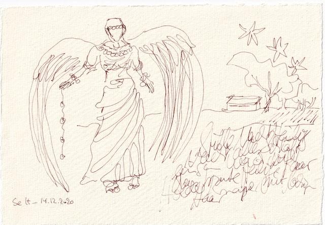 Tagebucheintrag 14.12.2020, Schutzengel, 20 x 15 cm, Tinte und Aquarell auf Silberburg Büttenpapier, Zeichnung von Susanne Haun (c) VG Bild-Kunst, Bonn 2020