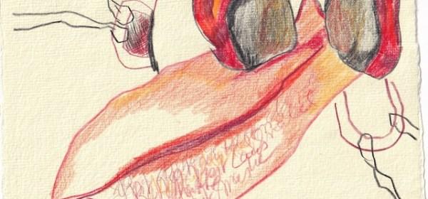 Tagebucheintrag 30.11.2020, Dekameron, Pestmaske, 20 x 15 cm, Tinte und Buntstift auf Silberburg Büttenpapier, Zeichnung von Susanne Haun (c) VG Bild-Kunst, Bonn 2020