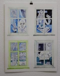 0 Blick aus dem Fenster, 60 x 45 cm Zeichnung von Susanne Haun