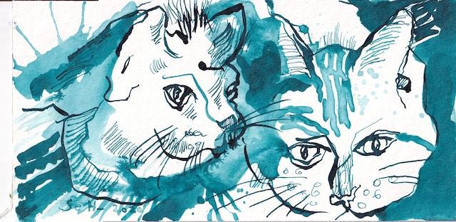Katze in Blau, Zeichnung von Susanne Haun, Tusche auf Aqaurellkarton, 12 x 17 cm (c) VG Bild-Kunst, Bonn 2021