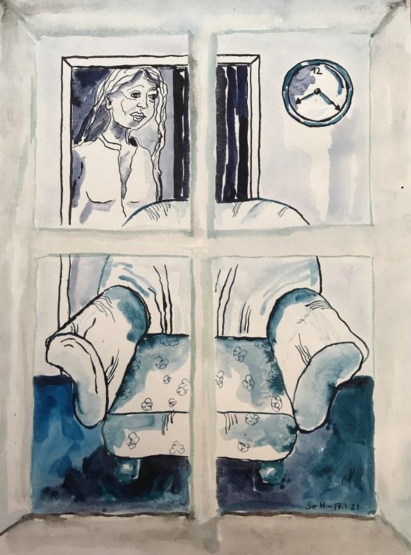 13 Blick aus dem Fenster, 60 x 45 cm Zeichnung von Susanne Haun