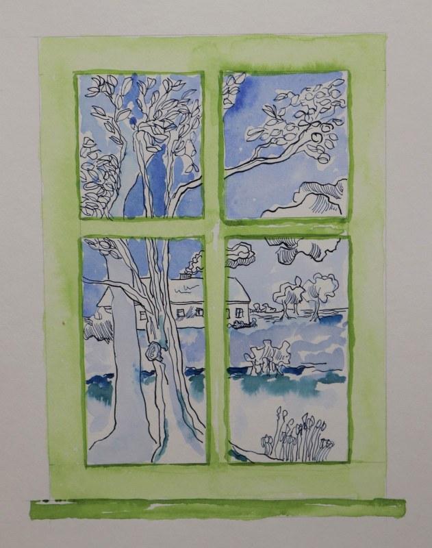 3 Detail Blick aus dem Fenster, 60 x 45 cm Zeichnung von Susanne Haun