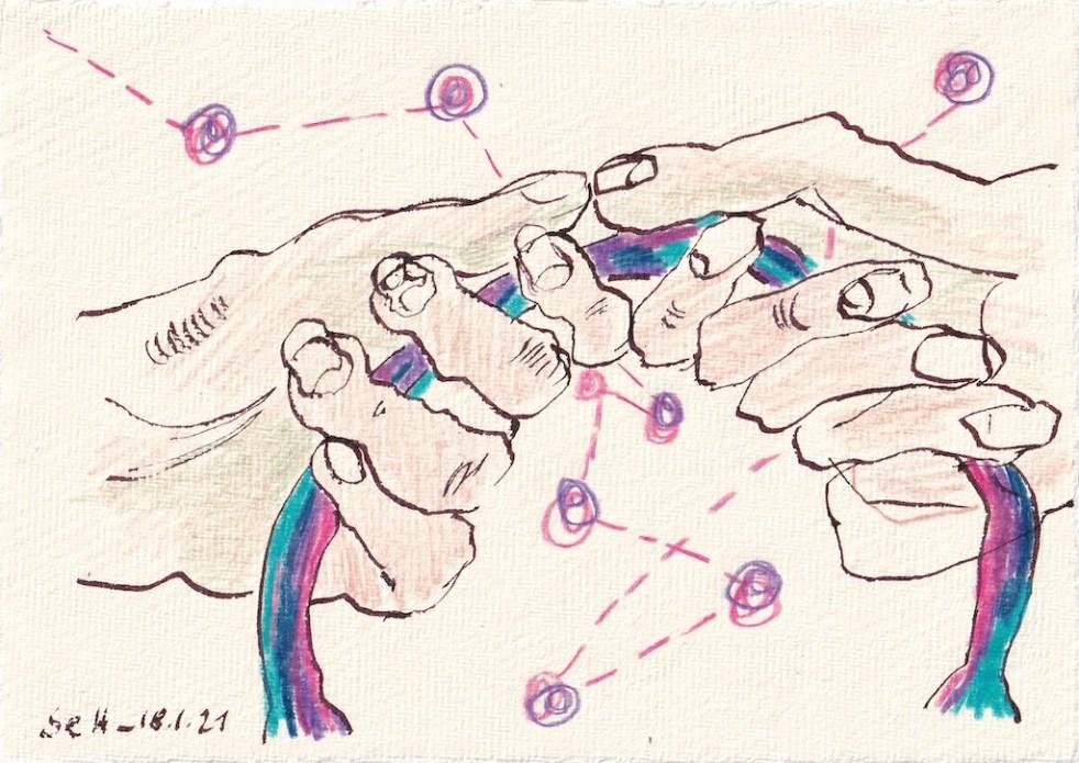 Tagebucheintrag 11.01.2021, Konzentration bitte, 20 x 15 cm, Tinte und Aquarell auf Silberburg Büttenpapier, Zeichnung von Susanne Haun (c) VG Bild-Kunst, Bonn 2021