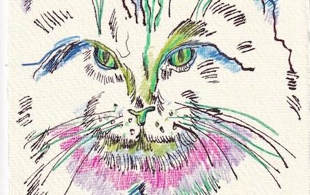 Tagebucheintrag 28.12.2020, Nike im Farbenrausch, Version 1, 20 x 15 cm, Tinte und Aquarell auf Silberburg Büttenpapier, Zeichnung von Susanne Haun (c) VG Bild-Kunst, Bonn 2020