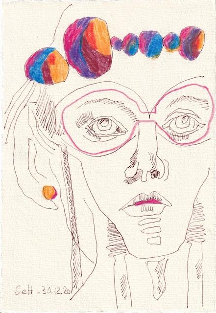 Tagebucheintrag 30.12.2020, Nachtgedanken, Selfie, 20 x 15 cm, Tinte und Aquarell auf Silberburg Büttenpapier, Zeichnung von Susanne Haun (c) VG Bild-Kunst, Bonn 2020