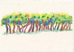 Tagebucheintrag 02.01.2021, Was ist abstrakt, Gegenstandslos, 20 x 15 cm, Buntstift auf Silberburg Büttenpapier, Zeichnung von Susanne Haun (c) VG Bild-Kunst, Bonn 2021 Kopie 2