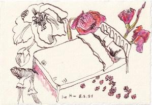 Tagebucheintrag 05.02.2021, Dekameron, In den Zimmern waren die Betten, Version 1, 20 x 15 cm, Tinte und Buntstift auf Silberburg Büttenpapier, Zeichnung von Susanne Haun (c) VG Bild-Kunst, Bonn 2021