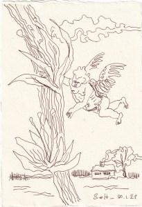 Tagebucheintrag 10.01.2021, Ein Engel hat sich verflogen, 20 x 15 cm, Tinte auf Silberburg Büttenpapier, Zeichnung von Susanne Haun (c) VG Bild-Kunst, Bonn 2021