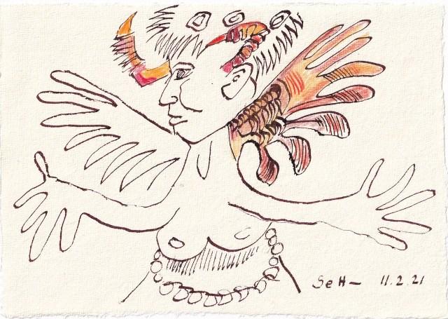 Tagebucheintrag 11.02.2021, Engel und Teufel in einem, 20 x 15 cm, Tinte und Buntstift auf Silberburg Büttenpapier, Zeichnung von Susanne Haun (c) VG Bild-Kunst, Bonn 2021