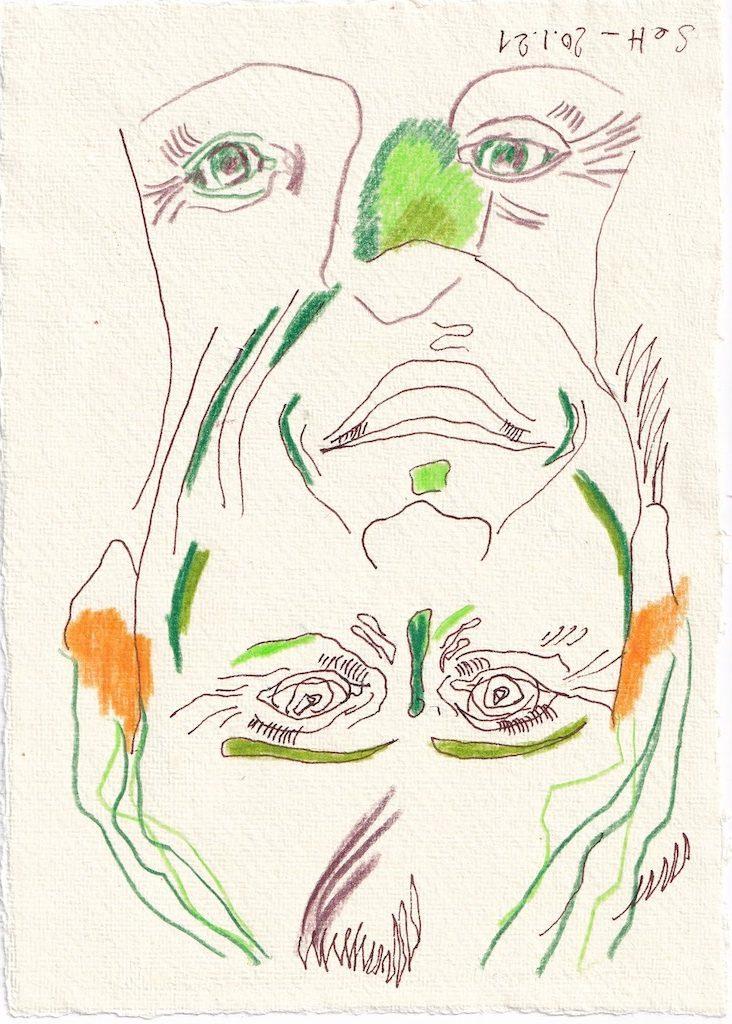 Tagebucheintrag 20.01.2021, Ich möchte Lachen können, Version 1, 20 x 15 cm, Tinte und Buntstift auf Silberburg Büttenpapier, Zeichnung von Susanne Haun (c) VG Bild-Kunst, Bonn 2021
