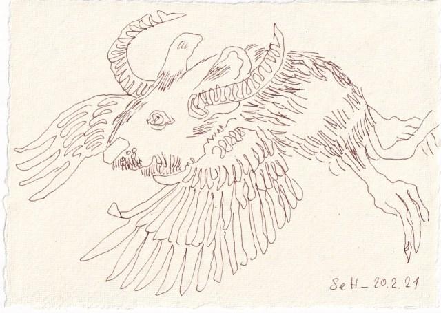 Tagebucheintrag 20.02.2021, Vers. 2, Wolpertinger, 20 x 15 cm, Tinte auf Silberburg Büttenpapier, Zeichnung von Susanne Haun (c) VG Bild-Kunst, Bonn 2021