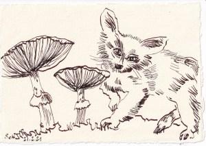 Tagebucheintrag 21.02.2021, Pilzförmige Gewächse treffen auf Katze, 20 x 15 cm, Tinte auf Silberburg Büttenpapier, Zeichnung von Susanne Haun (c) VG Bild-Kunst, Bonn 2021
