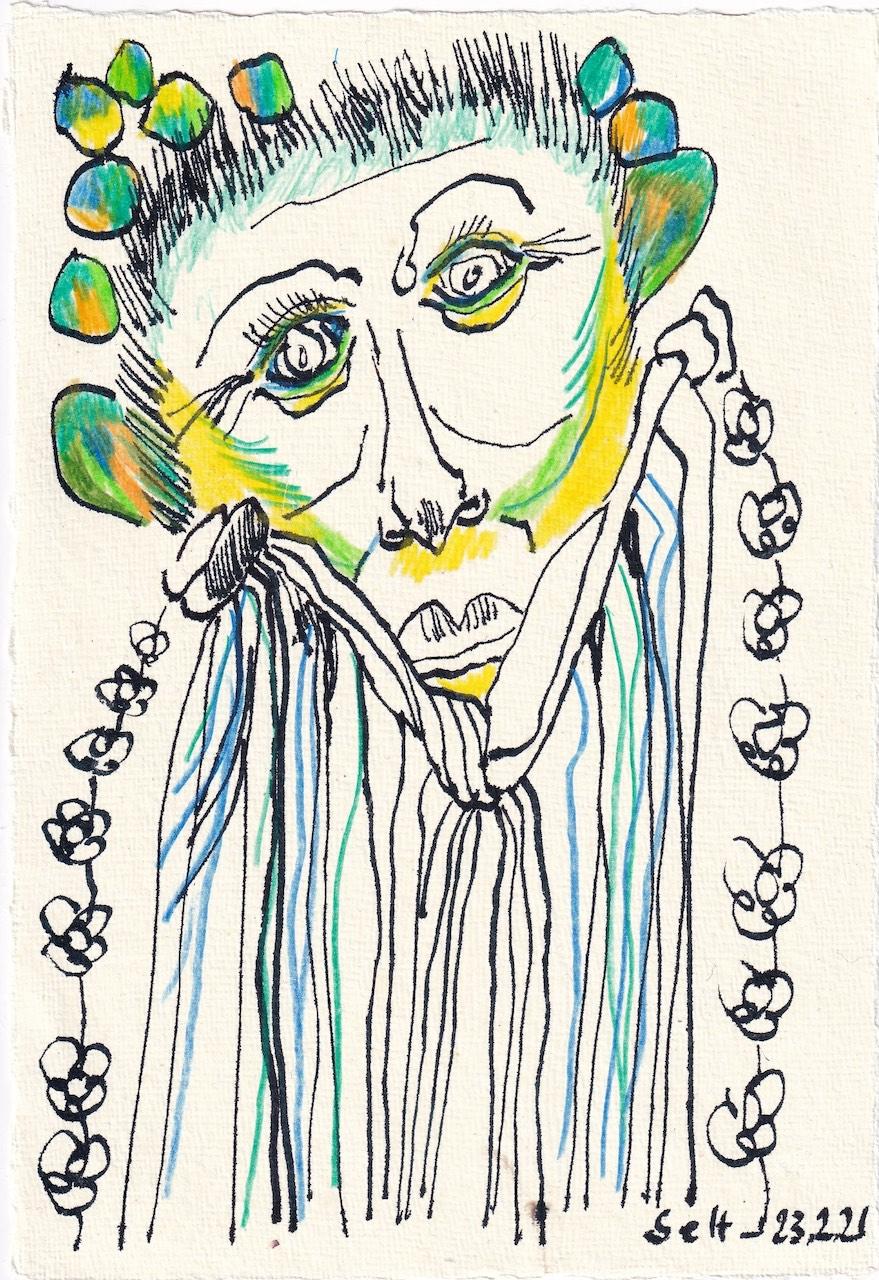 Tagebucheintrag 23.02.2021, Naturkind, 20 x 15 cm, Tinte auf Silberburg Büttenpapier, Zeichnung von Susanne Haun (c) VG Bild-Kunst, Bonn 2021