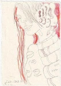 Tagebucheintrag 24.02.2021, Hoerst du mich, 20 x 15 cm, Tinte auf Silberburg Büttenpapier, Zeichnung von Susanne Haun (c) VG Bild-Kunst, Bonn 2021