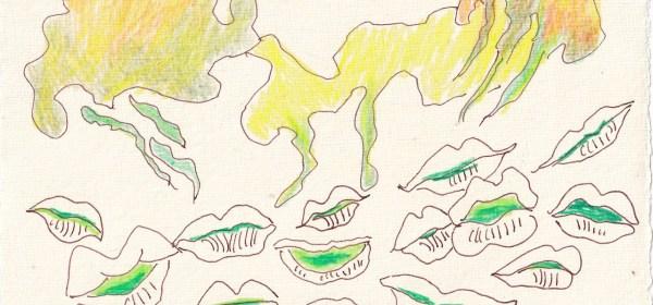 Tagebucheintrag 21.03.2021, Dekameron, Geschichten erzählen, Version 1, 20 x 15 cm, Tinte und Aquarell auf Silberburg Büttenpapier, Zeichnung von Susanne Haun (c) VG Bild-Kunst, Bonn 2021