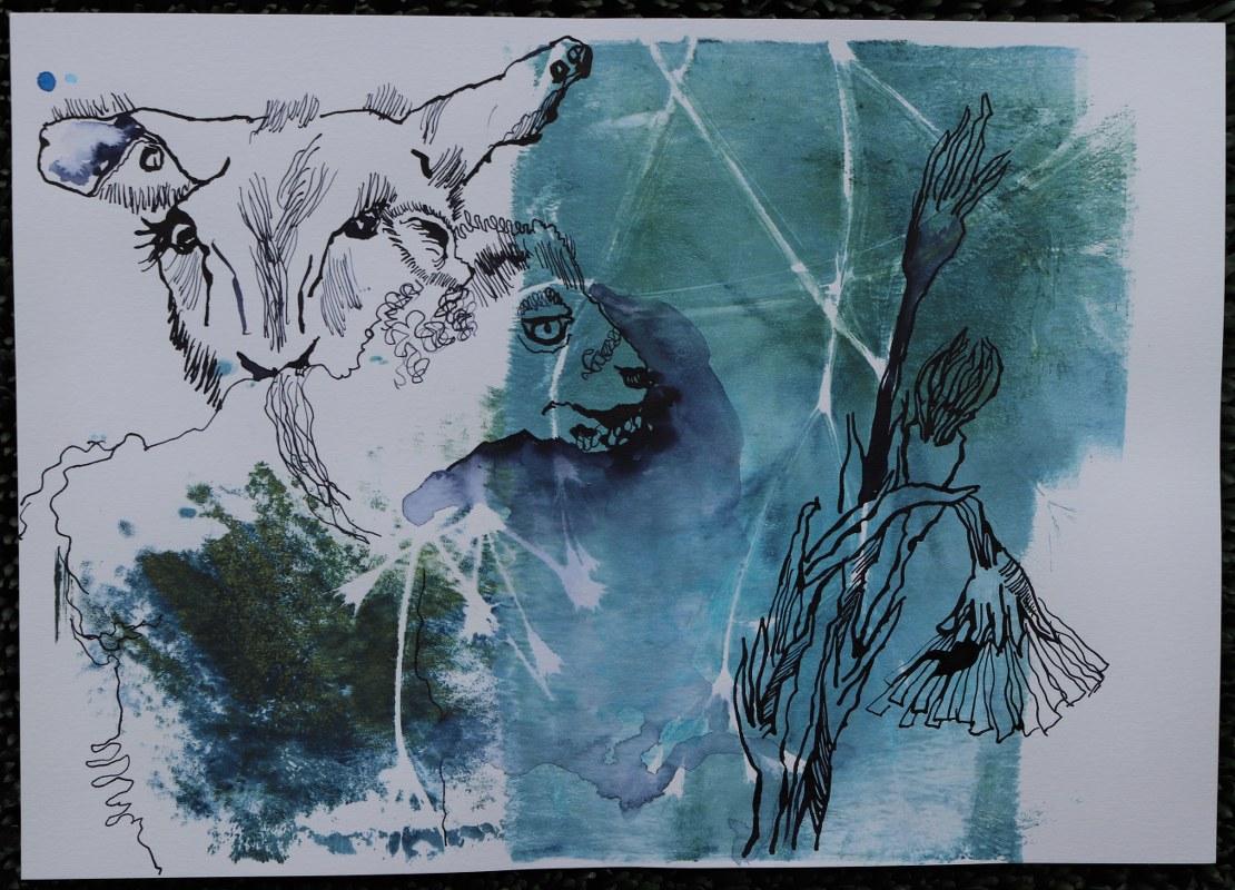 2021 02 06 Mähhh, 21,4 x 29,5 cm, Druck und Zeichnung von Kerstin Mempel und Susanne Haun (c) VG Bild-Kunst, Bonn 2021