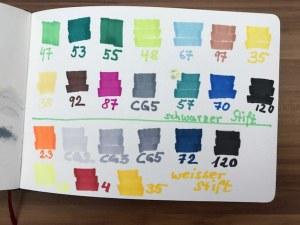 Farbmuster für - Ziehen sie Handschuhe an, 24 x 37 cm cm, Marker auf Brockhaus, Aneignung, Zeichung von Susanne Haun (c) VG Bild-Kunst, Bonn 2021