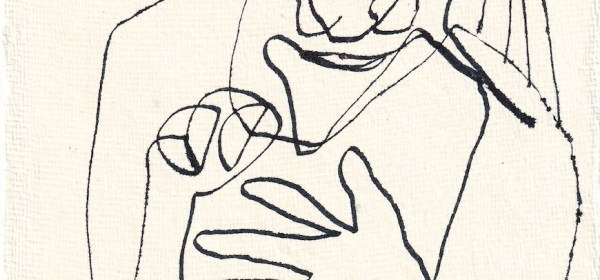 Tagebucheintrag 20.03.2021, Waiting for, Version 1, 20 x 15 cm, Tinte und Aquarell auf Silberburg Büttenpapier, Zeichnung von Susanne Haun (c) VG Bild-Kunst, Bonn 2021