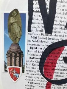 Entstehung Ziehen sie Handschuhe an, 24 x 37 cm cm, Marker auf Brockhaus, Aneignung, Zeichung von Susanne Haun (c) VG Bild-Kunst, Bonn 2021
