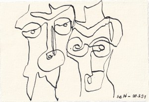 Tagebucheintrag 20.03.2021, Waiting for, Version 3, 20 x 15 cm, Tinte und Aquarell auf Silberburg Büttenpapier, Zeichnung von Susanne Haun (c) VG Bild-Kunst, Bonn 2021