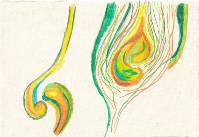 Tagebucheintrag 21.03.2021, Waiting for, Version 4, 20 x 15 cm, Tinte und Aquarell auf Silberburg Büttenpapier, Zeichnung von Susanne Haun (c) VG Bild-Kunst, Bonn 2021