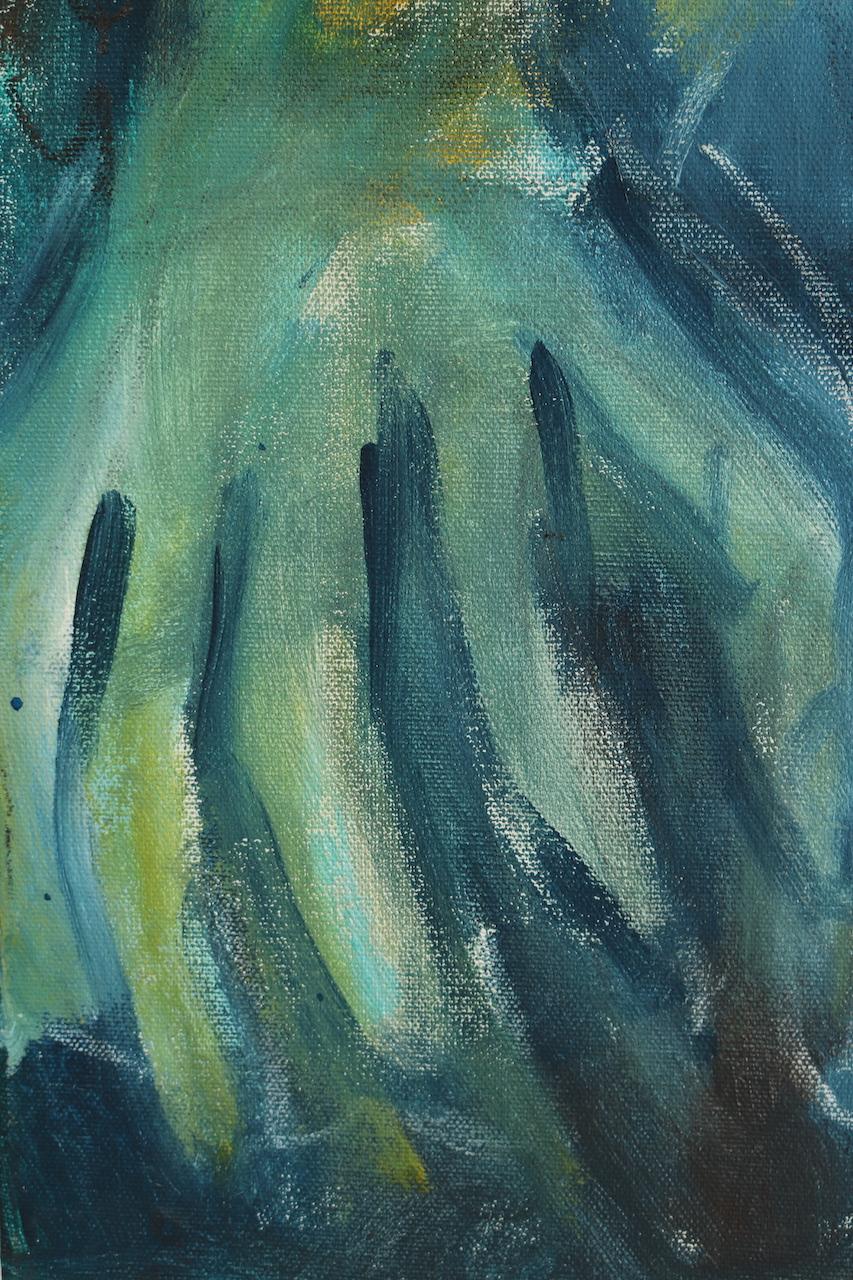 Drei Frauen - Grün mit Eule, Dreiteiliges Gemälde von Susanne Haun (c) VG Bild-Kunst, Bonn 2021