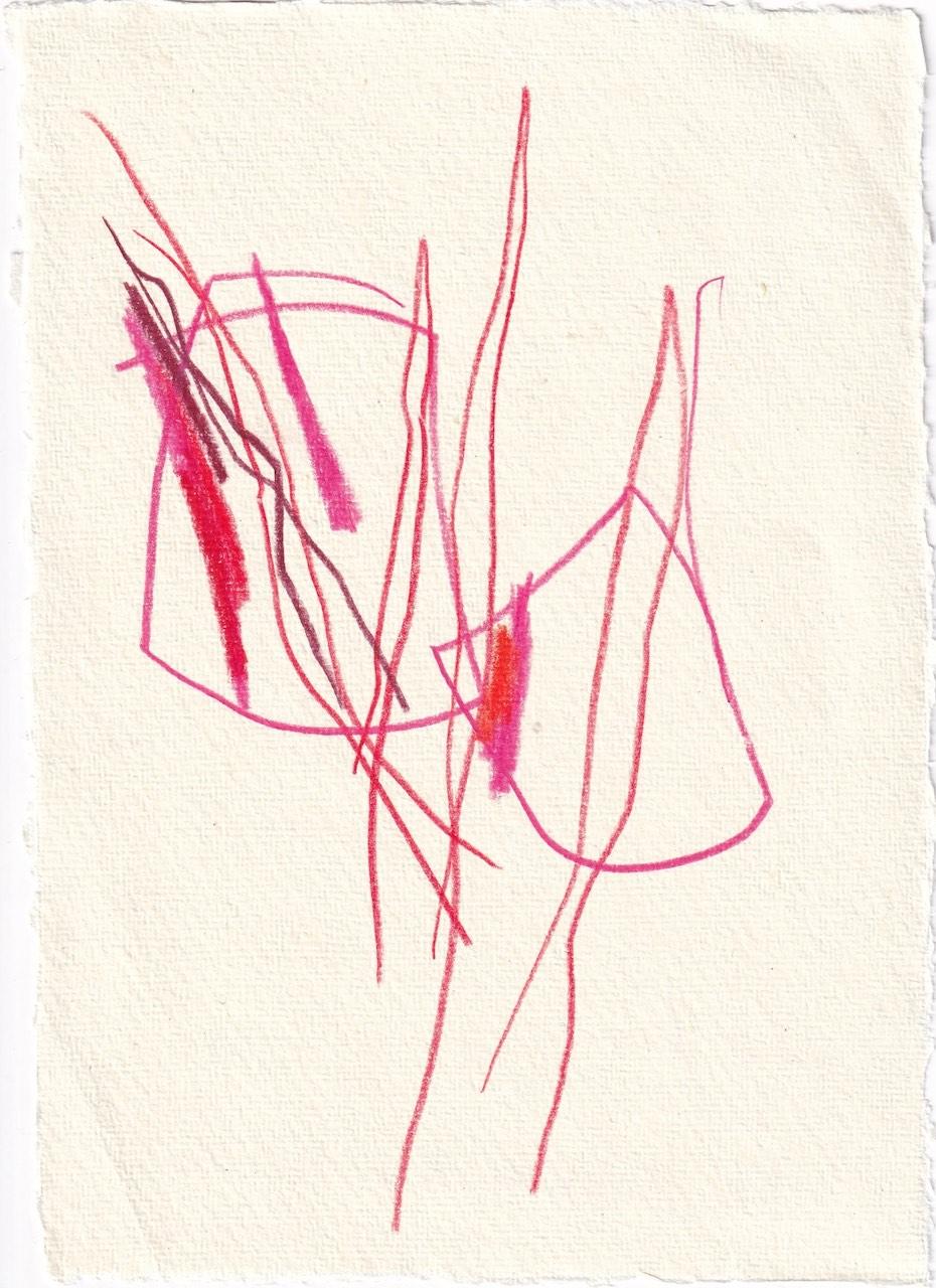 Tagebucheintrag 07.03.2021, Kikiriki, eine Metamorphose, 3, 20 x 15 cm, Tinte und Buntstift auf Silberburg Büttenpapier, Zeichnung von Susanne Haun (c) VG Bild-Kunst, Bonn 2021