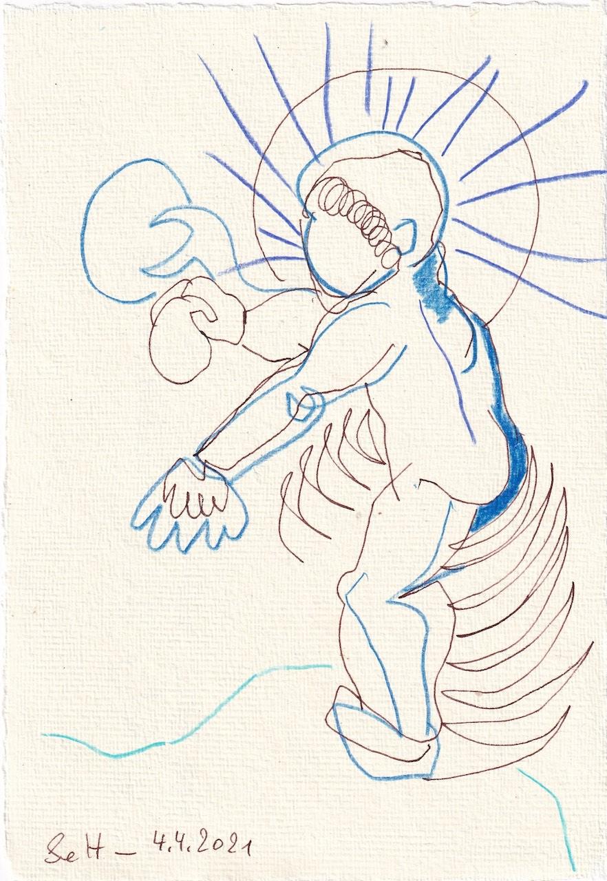 Tagebucheintrag 04.04.2021, Inspiriert von Grien, Die hl. Anna selbdritt, V3 ,20 x 15 cm, Tinte und Buntstift auf Silberburg Büttenpapier, Zeichnung von Susanne Haun (c) VG Bild-Kunst, Bonn 2021