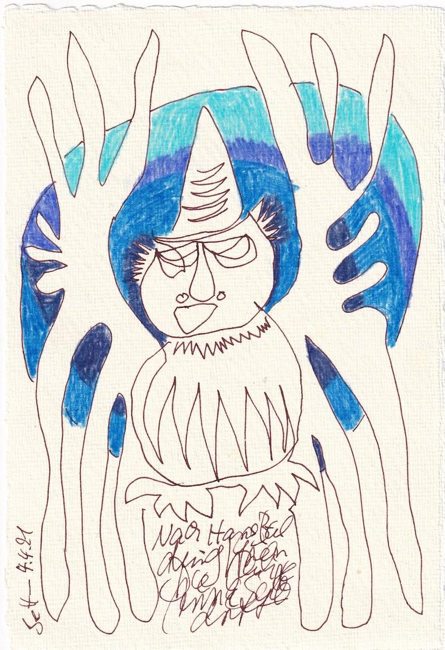 Tagebucheintrag 04.04.2021, Inspiriert von Grien, Die hl. Anna selbdritt, V4,20 x 15 cm, Tinte und Buntstift auf Silberburg Büttenpapier, Zeichnung von Susanne Haun (c) VG Bild-Kunst, Bonn 2021