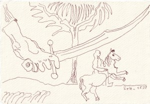 Tagebucheintrag 01.05.2021, Judiths Schwert, V2, 20 x 15 cm, Tinte und Buntstift auf Silberburg Büttenpapier, Zeichnung von Susanne Haun (c) VG Bild-Kunst, Bonn 2021