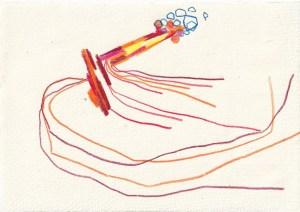 Tagebucheintrag 16.05.2021, Wo sprudelt es Honig, 20 x 15 cm, Tinte und Aquarell auf Silberburg Büttenpapier, Zeichnung von Susanne Haun (c) VG Bild-Kunst, Bonn 2021