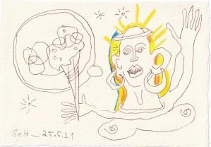 Tagebucheintrag 25.05.2021, Like Ice in the sunshine, 20 x 15 cm, Tinte und Buntstift auf Silberburg Büttenpapier, Zeichnung von Susanne Haun (c) VG Bild-Kunst, Bonn 2021