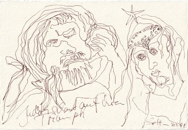 Tagebucheintrag 30.04.2021, Judith und Holofernes auf Augenhöhe, 20 x 15 cm, Tinte und Buntstift auf Silberburg Büttenpapier, Zeichnung von Susanne Haun (c) VG Bild-Kunst, Bonn 2021