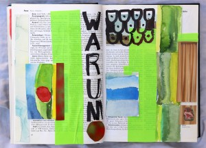 Warum, 24 x 37 cm, Marker auf Brockhaus, Aneignung, Zeichung von Susanne Haun (c) VG Bild-Kunst, Bonn 2021